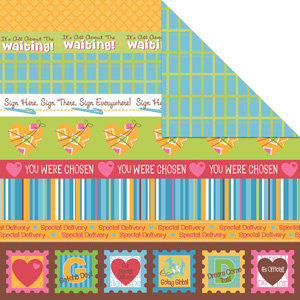 Creative Imaginations - Keepin It Real Collection - 12 x 12 Double Sided Paper - Adoption Borders, CLEARANCE