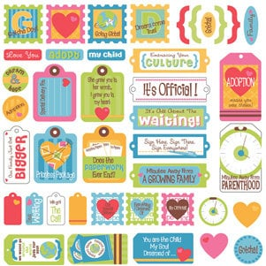 Creative Imaginations - Keepin It Real Collection - 12 x12 Cardstock Stickers - We're Adopting, CLEARANCE