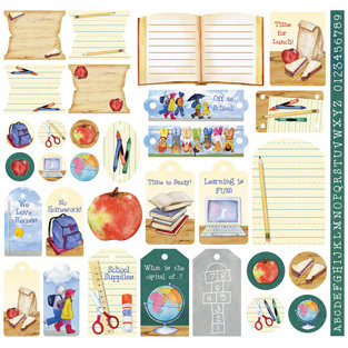 Creative Imaginations - It's Elementary Collection by Barb Tourtillotte - 12 x 12 Cardstock Stickers - School