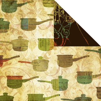 Creative Imaginations - Everyday Gourmet Collection by Christine Adolph - 12 x 12 Double Sided Paper - Pots and Pans