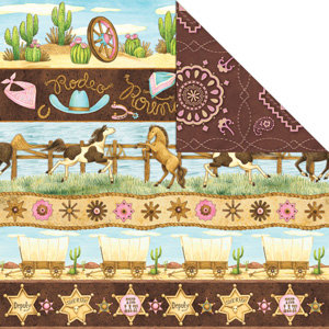 Creative Imaginations - Cowgirl Collection by Debbie Mumm - 12 x 12 Double Sided Paper - Cowgirl Borders