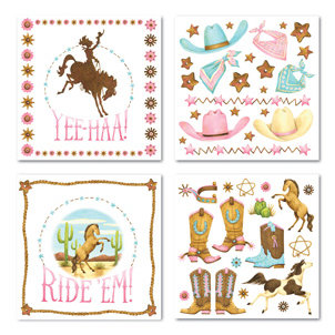 Creative Imaginations - Cowgirl Collection by Debbie Mumm - Rub Ons Swatch Pack - Yee Haa, CLEARANCE
