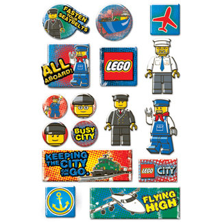 Creative Imaginations - Lego City Collection - Epoxy Stickers - Transportation