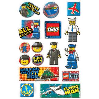 Creative Imaginations - Lego City Collection - Epoxy Stickers - Transportation