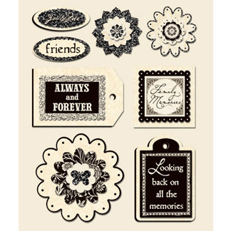 Creative Imaginations - Narratives by Karen Russell - Layered Stickers - Antique Cream, CLEARANCE