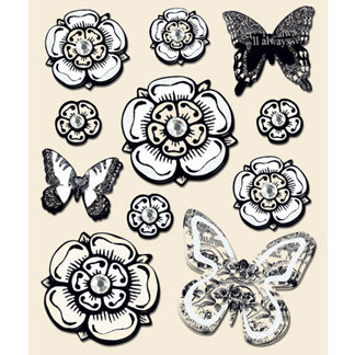 Creative Imaginations - Narratives by Karen Russell - Layered Stickers - Cream Flowers, CLEARANCE