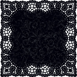 Creative Imaginations - Narratives by Karen Russell Collection - 12 x 12 Die Cut Paper - Black Doily