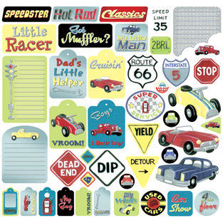 Creative Imaginations - Renae's House Collection - 12 x 12 Cardstock Stickers - Devan's Garage, CLEARANCE