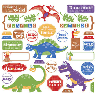Creative Imaginations - Studio Basics 101 Collection - 12 x 12 Cardstock Stickers - Dino Icons, CLEARANCE