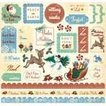 Creative Imaginations - Signature Collection - 12 x 12 Christmas Glitter Cardstock Stickers - Tinsel Town