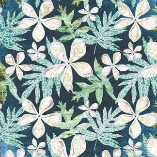Creative Imaginations - South Seas Collection - 12 x 12 Silver Foil Paper - Plumeria