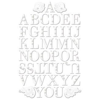 Creative Imaginations - Art Warehouse by Danelle Johnson - Radiance Collection II - Glitter and Rhinestone Epoxy Alphabet Stickers - Fanfare - White