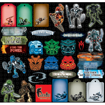 Creative Imaginations - Lego Bionicle Collection - 12 x 12 Cardstock Stickers - Bionicle