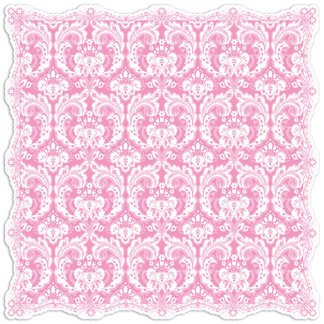 Creative Imaginations - Narratives by Karen Russell - Lilly Lane Collection - 12 x 12 Die Cut Paper - Pinky Damask, CLEARANCE