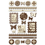 Creative Imaginations - Narratives by Karen Russell - Sepia Collection - Epoxy Stickers - Sepia