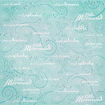 Creative Imaginations - Fairytale Collection - 12 x 12 Glitter Paper - Little Mermaid