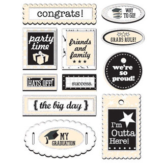 Creative Imaginations - Grads Rule Collection - Layered Stickers - Grads Rule