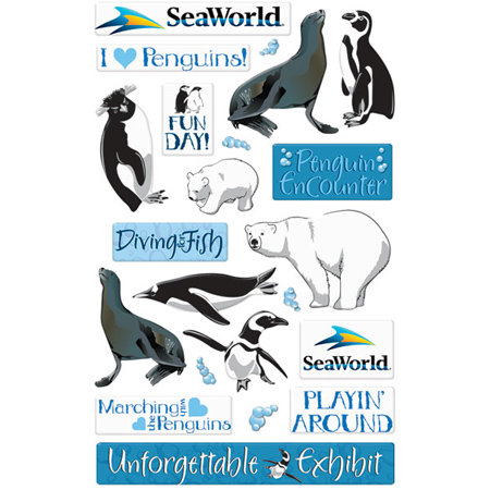 Creative Imaginations - Seaworld - Penguins Collection - Epoxy Stickers - Penguin
