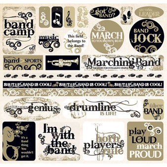 Creative Imaginations - Marching Band Collection - 12 x 12 Cardstock Stickers