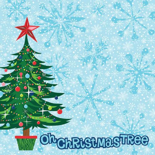 Creative Imaginations - Dear Santa Collection by Helen Dardik - Christmas - 12 x 12 Glitter Paper - Oh Christmas Tree