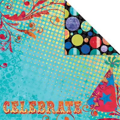 Creative Imaginations - Melange - Celebrate Me Collection - 12 x 12 Double Sided Paper - Celebrate, BRAND NEW - click to enlarge