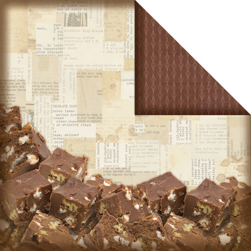 Creative Imaginations - Christmas in the Kitchen Collection by Samantha Walker - 12 x 12 Double Sided Paper - Chocolate Fudge