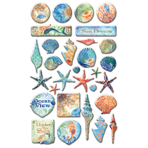 Creative Imaginations - Oceana Collection - Epoxy Stickers