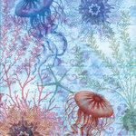 Creative Imaginations - Oceana Collection - 12 x 12 Pearl Paper - Ocean Blue
