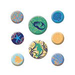 Creative Imaginations - Oceana Collection - Self Adhesive Fabric Buttons