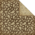 Creative Imaginations - Cowgirl Collection - 12 x 12 Double Sided Paper - Brown Paisley