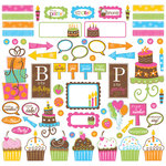 Creative Imaginations - Birthday Bliss Collection - 12 x 12 Glitter Cardstock Stickers - Birthday Bliss