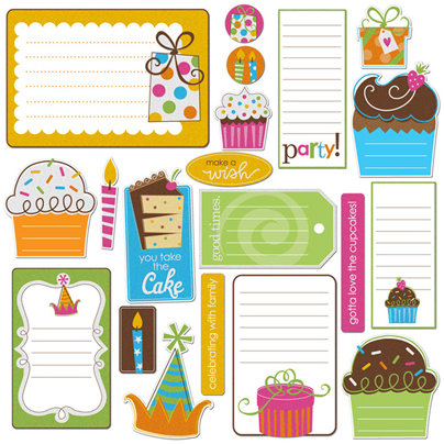 Creative Imaginations - Birthday Bliss Collection - Die Cut Pieces with Glitter Accents - Birthday Bliss Shapes, CLEARANCE