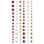 Creative Imaginations - Loolah Collection - Bling - Self Adhesive Rhinestone Pack - Red Pearl and Green