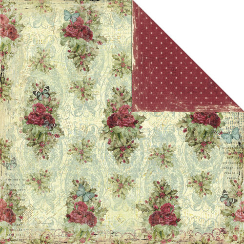 Creative Imaginations - Night Divine Collection - Christmas - 12 x 12 Double Sided Paper - Vintage Rose
