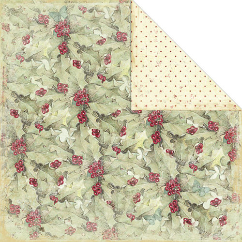 Creative Imaginations - Night Divine Collection - Christmas - 12 x 12 Double Sided Paper - Winter Holly, BRAND NEW