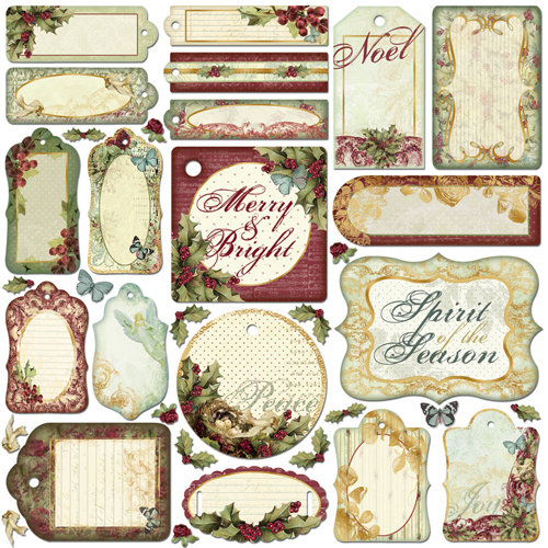 Creative Imaginations - Night Divine Collection - Christmas - Die Cut Pieces with Foil Accents - Night Divine Shapes, CLEARANCE