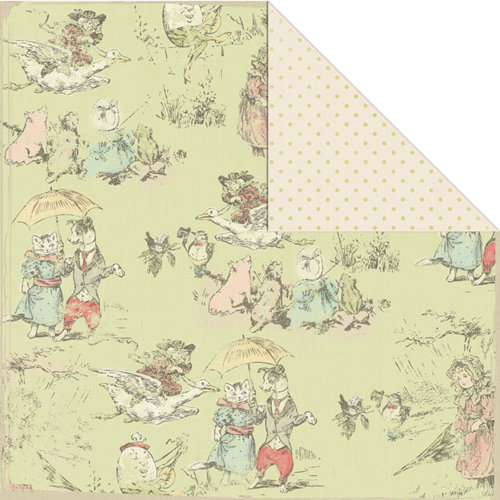 Creative Imaginations - Lullaby Girl Collection - 12 x 12 Double Sided Paper - Nursery Rhyme