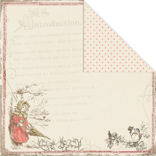 Creative Imaginations - Lullaby Girl Collection - 12 x 12 Double Sided Paper - Bo Peep
