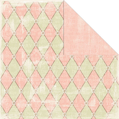 Creative Imaginations - Lullaby Girl Collection - 12 x 12 Double Sided Paper - Pink Harlequin