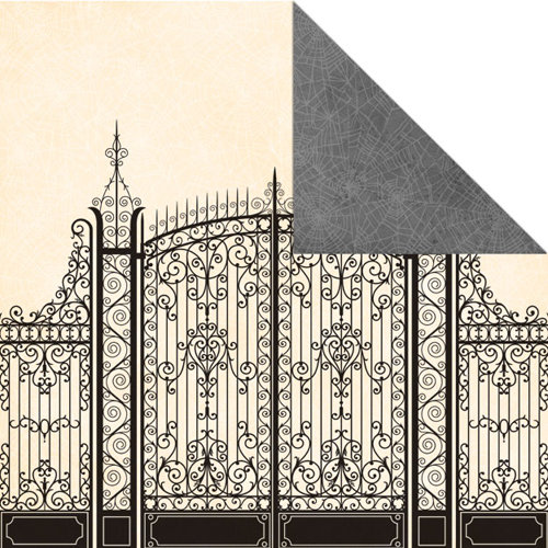 Creative Imaginations - Wicked Ways Collection - Halloween - 12 x 12 Double Sided Paper - Cemetery Gate, BRAND NEW