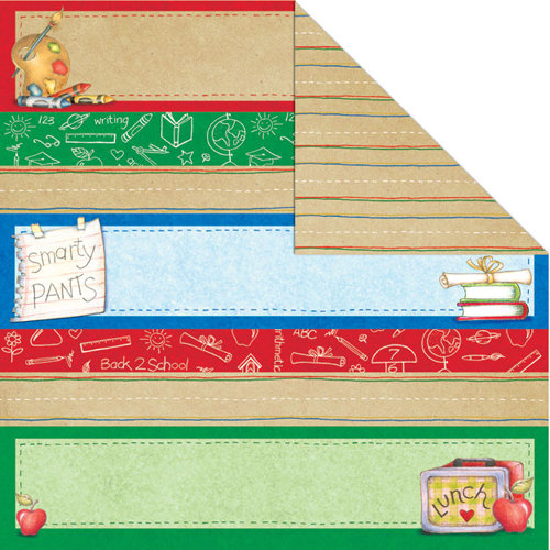 Creative Imaginations - Back To School Collection - 12 x 12 Double Sided Paper - Smarty Pants