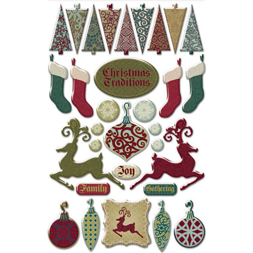 Creative Imaginations - Christmas Traditions Collection - Epoxy Stickers