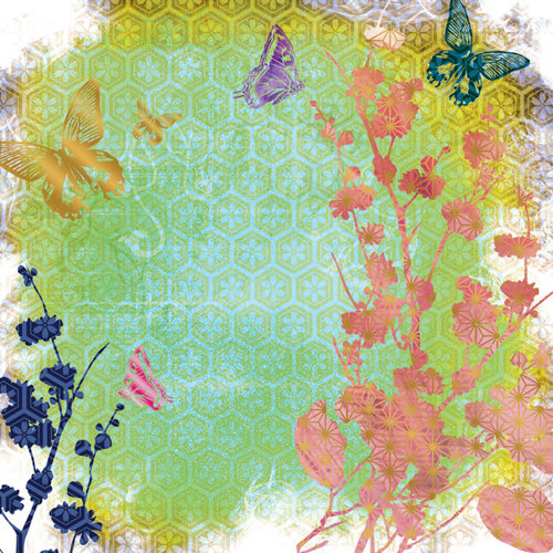 Creative Imaginations - Sakura Collection - 12 x 12 Paper with Foil Accents - Blossoms and Butterfly
