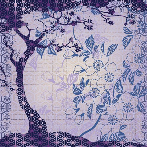 Creative Imaginations - Sakura Collection - 12 x 12 Paper with Foil Accents - Bonsai