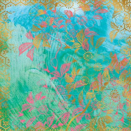 Creative Imaginations - Sakura Collection - 12 x 12 Paper with Foil Accents - Sakura