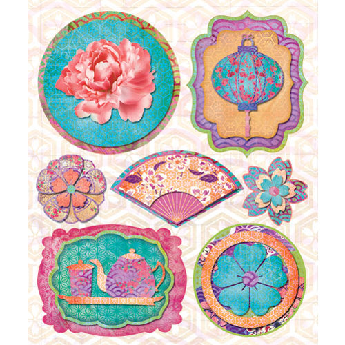 Creative Imaginations - Sakura Collection - Layered Cardstock Stickers - Sakura