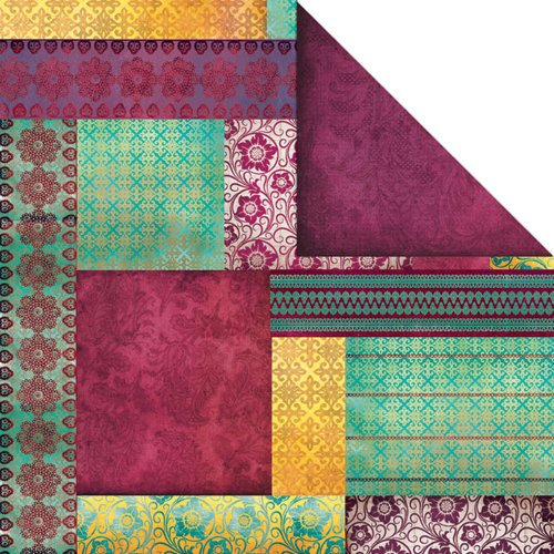 Creative Imaginations - Marrakesh Collection - 12 x 12 Double Sided Paper - Curry
