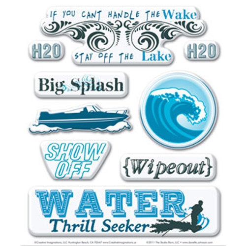 Creative Imaginations - Art Warehouse by Danelle Johnson - Active Summer Collection - Epoxy Stickers - Water Sports
