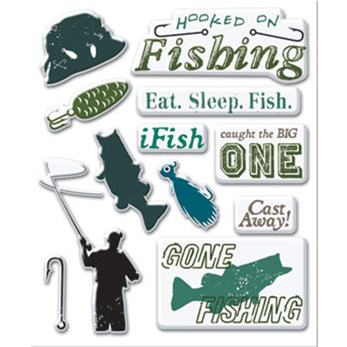 Creative Imaginations - Art Warehouse by Danelle Johnson - Active Summer Collection - Epoxy Stickers - Fishing