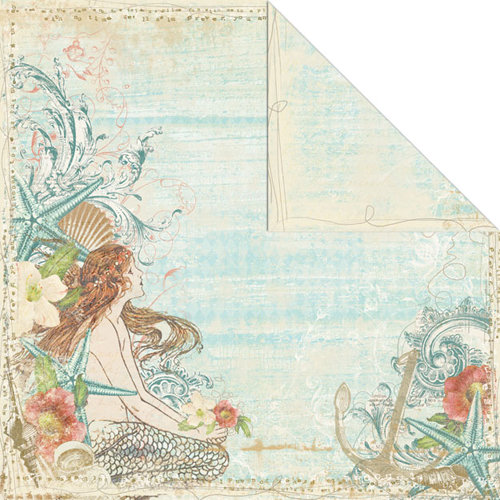 Creative Imaginations - Beach Cottage Collection - 12 x 12 Double Sided Paper - Mermaid